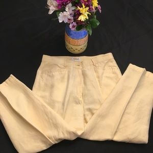 Talbots Petites Irish Linen Blend. Yellow pants 14